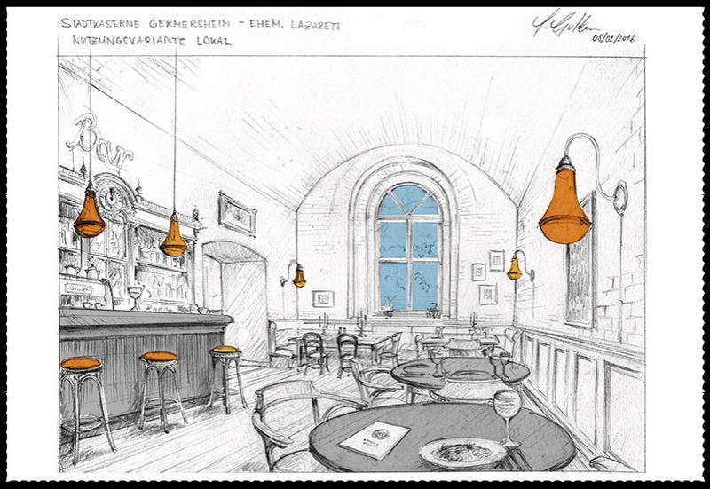 Gezeichnete Visualisierung eines gewölbten Raums mit Gaststätte.