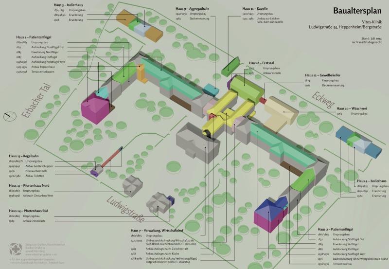 Baualtersplan einer unter Denkmalschutz stehenden Klinik.