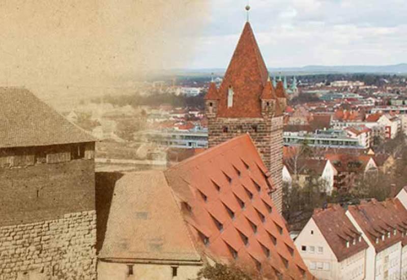 Überblendung eines Fotos des neunzehnten Jahrhunderts mit einem aktuellen. Es zeigt den Fünfeckigen Turm, die Kaiserstallung und den Luginsland in Nürnberg.