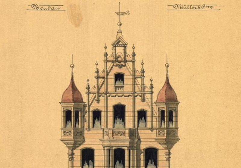Eine Planzeichnung eines neugotischen Hauses mit prunkvollem Giebel und seitlichen Erkern vom Ende des neunzehnten Jahrhunderts.