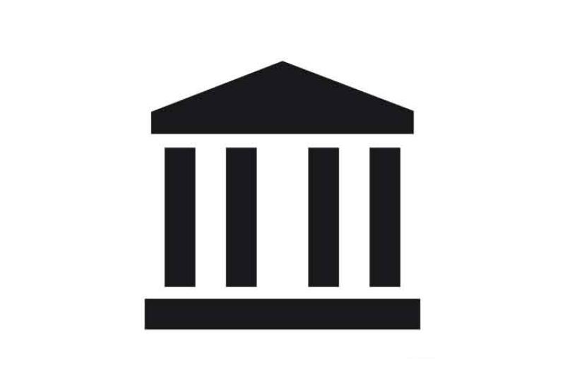 Ein Tempel-Portikus als Symbol für Museen und Ausstellungen.