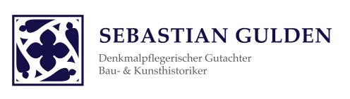 Das Logo des Denkmalpflegerischen Gutachters, Bau- und Kunsthistorikers Sebastian Gulden. Ein gotisches Ornament aus einem Vierpassen, umgeben von vier Schneußen.
